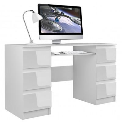 Biurko komputerowe KUBA biel połysk 6 szuflad